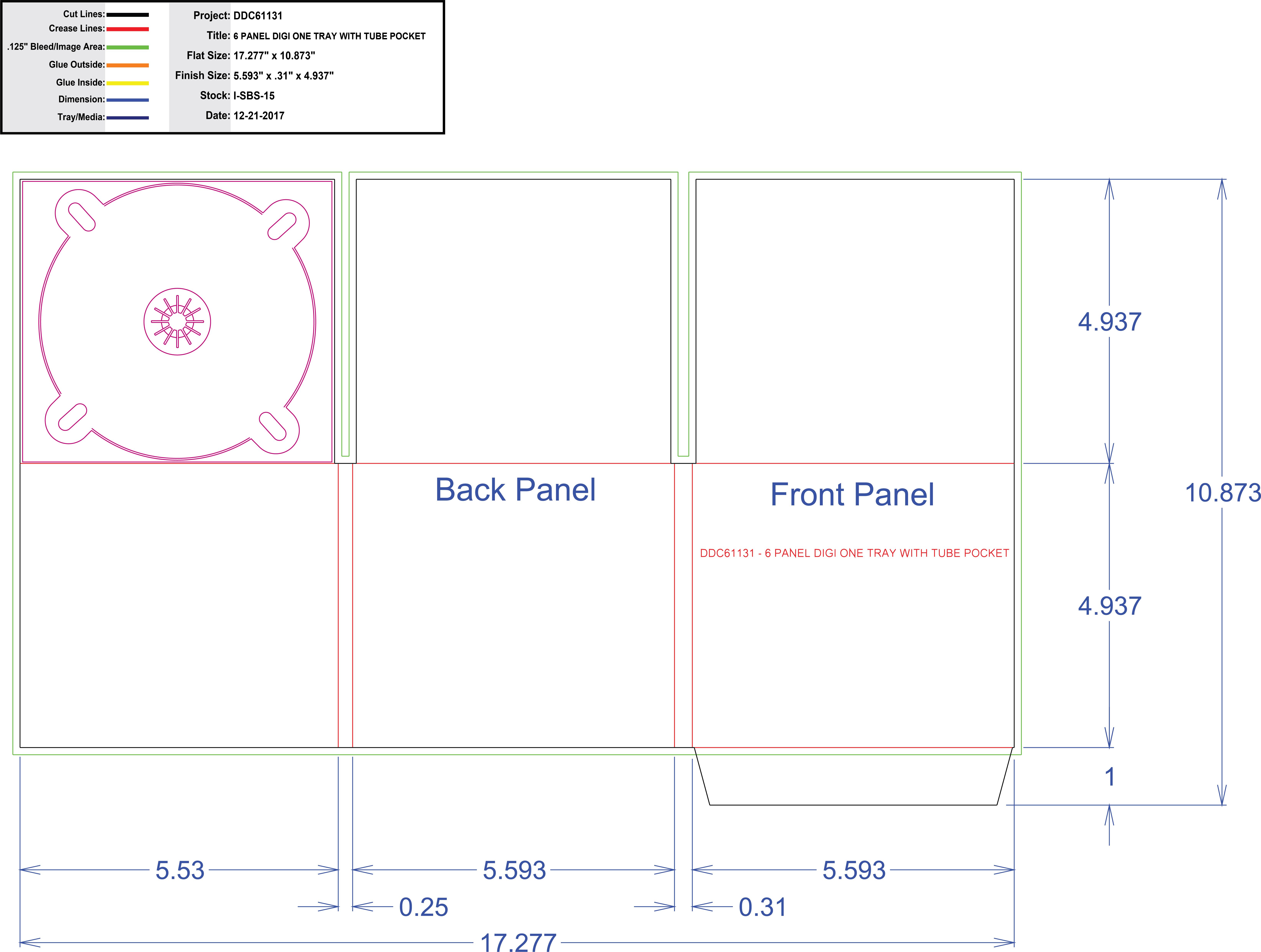 DDC61131 6 Panel Digi 1 Tray, Tube Pocket