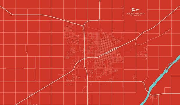 Red Grand Island Map