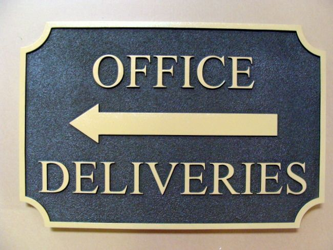 SA28749 - Sandstone-Texture HDU Sign with Arrow for Office Deliveries