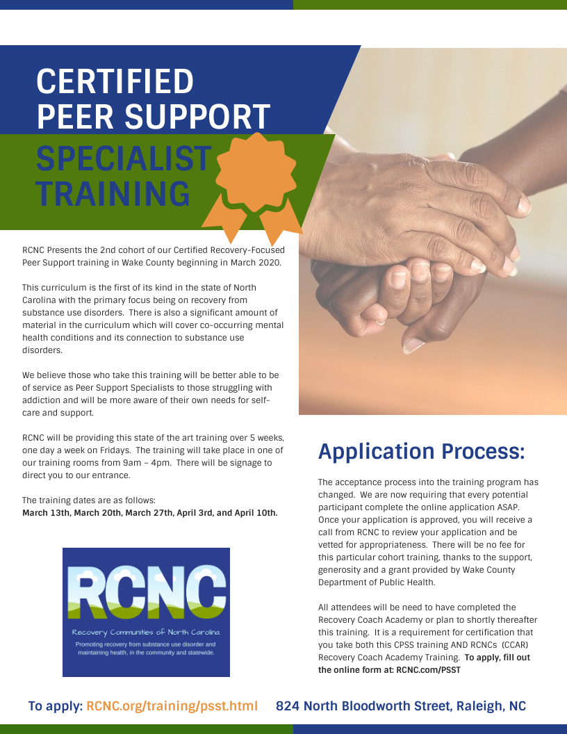 Certified Peer Support Specialist Training - Apply Today!