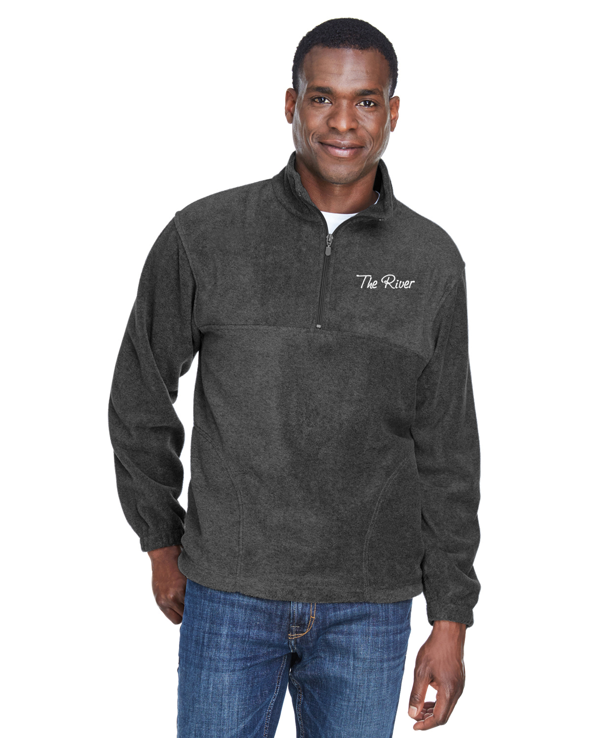 M980 Charcoal Harriton Adult 8 oz. Quarter-Zip Fleece Pullover Charcoal