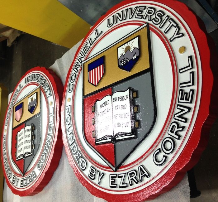 CG302 - Carved Custom  Round Wall Plaque of Seal of any University, College, or School - Example, Cornell University