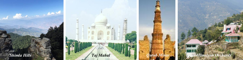 Popular Destinations in India - Shimla Hills, Taj Mahal
