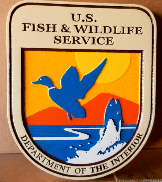 G16072 - Carved Wall Plaque of the Seal fo Fish & Wildlife Service,, 2.5-D  , with Duck and Fish