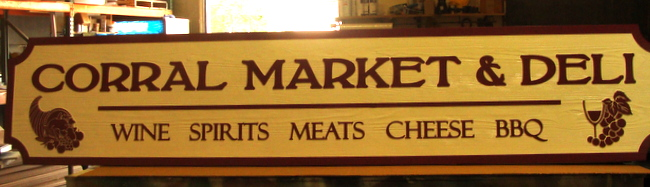 "Q25636 - Carved Wood Sign for ""Market & Deli"" ""Wine Meats Cheese BBQ"" with Carved Cornucopia, Grapes and Wine Glass"