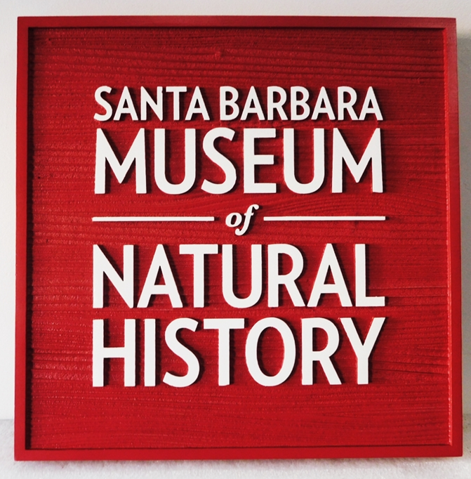 F15902 - Carved Cedar Entrance  Sign for the Santa Barbara Museum of Natural History