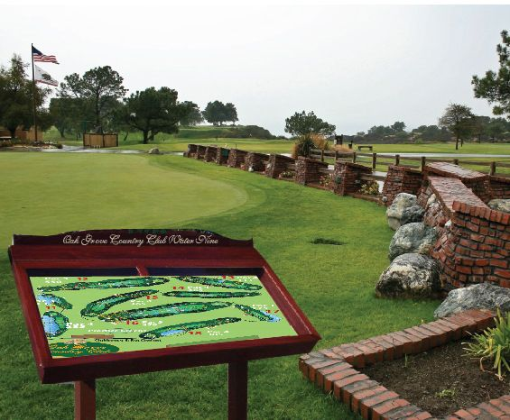 E14227 - Golf Course 3D Map Mounted in Redwood Box