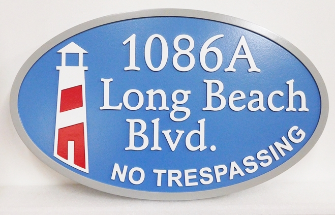 L21425 - Carved 2.5-D HDU Coastal Residence Address Entrance Sign  featuring  a Stylized  Lighthouse.