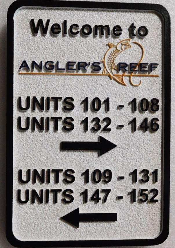 KA20847- Custom Carved  Directional Unit Number Building Sign for the Angler's Reef Apartments
