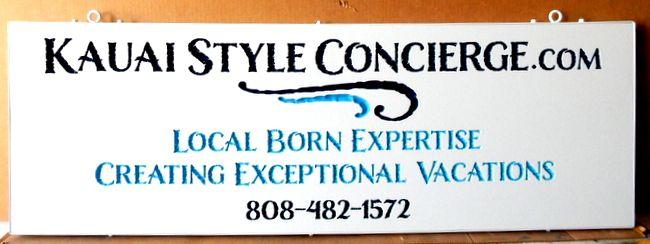 "SA28788 - Engraved  HDU Sign for ""Hawaiian Kauai Concierge Realtor Vacations"" Company"