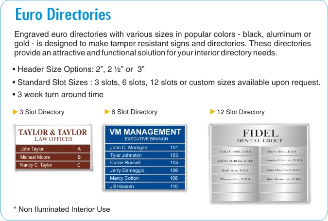 Directory Signs for Office Buildings