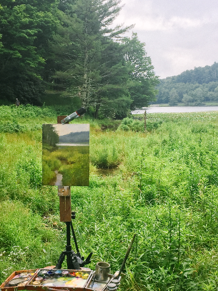 Jeremy Sams Painting at Bass Lake on the Blue Ridge Parkway