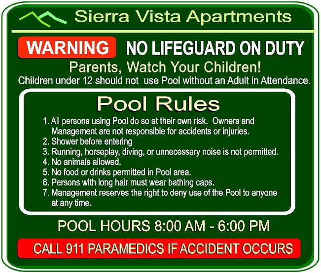 GB16320 -  Carved and Engraved High-Density-Urethane (HDU) Swimming Pool Rules Sign, for the Sierra Vista Apartments