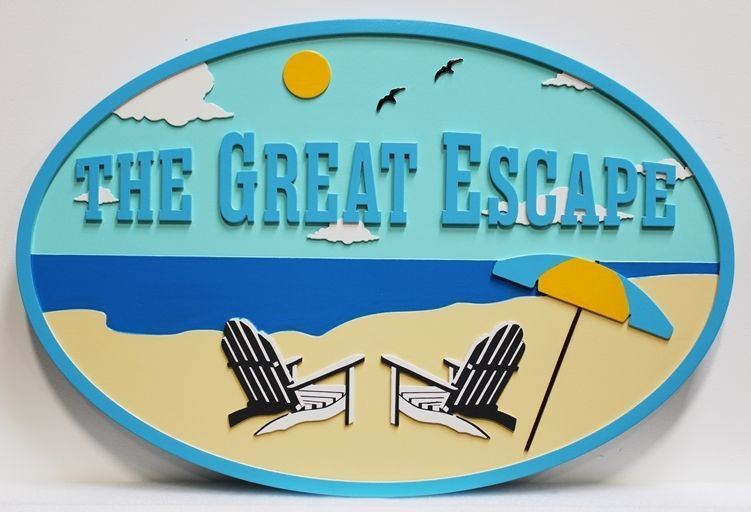 "L21009 -  Carved  2.5-D Multi-level relief beach house name Sign ""The Great Escape "", with  Two Empty Beach Chairs and an Umbrella as Artwork"