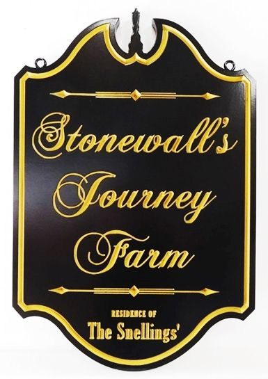 "O24043 - Formal Ornate Engraved  Sign for ""Stonewall's Journey Farm"", with  24K Gold Leaf Gilded Text"