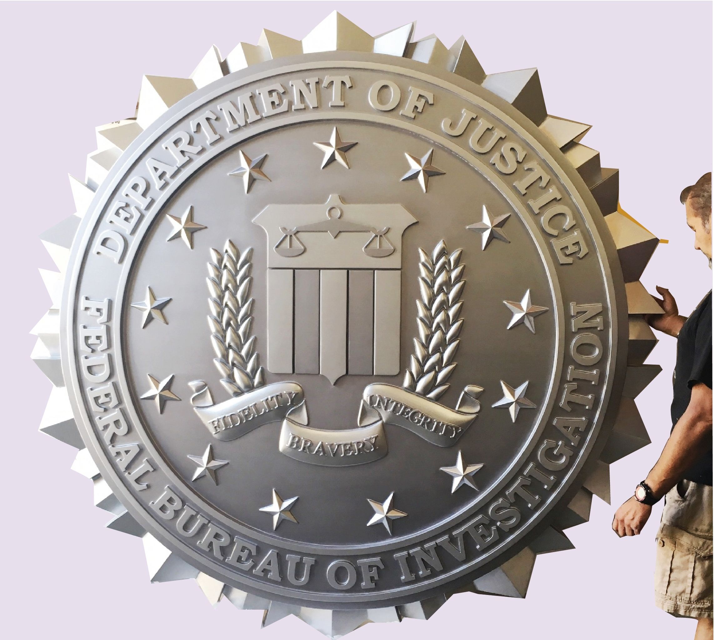 AP-2408 - Large Carved Plaque of the Seal of the Federal Bureau of Investigation (FBI), 3-D Bas-Relief, Metallic Silver Painted
