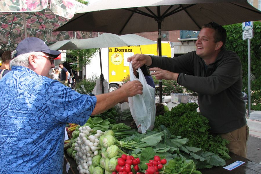 Young man at a farmers market booth outside, handing a sack of vegetables to and older man
