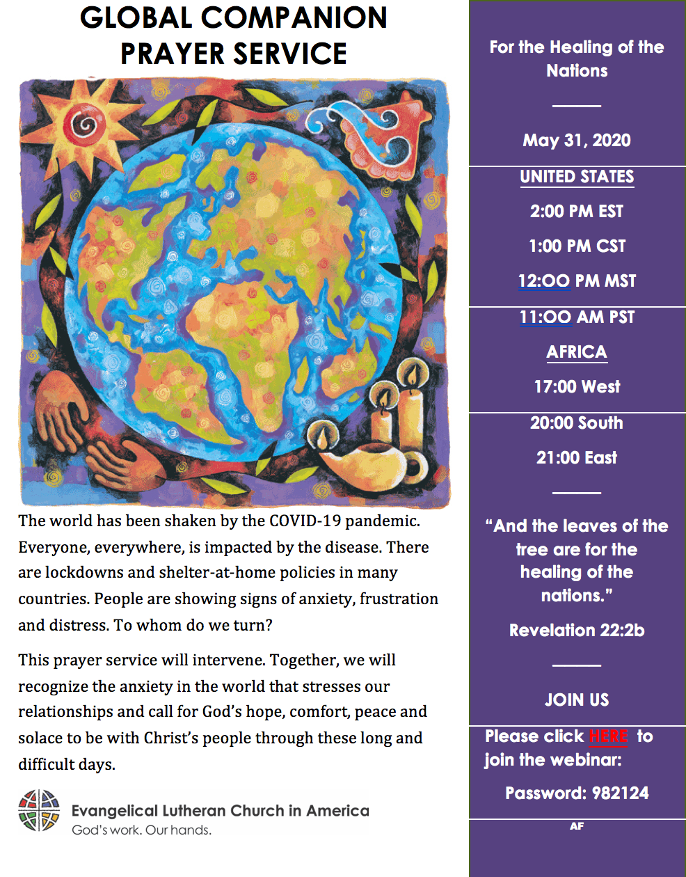 ELCA Global Companion Prayer Service-For the Healing of the Nations