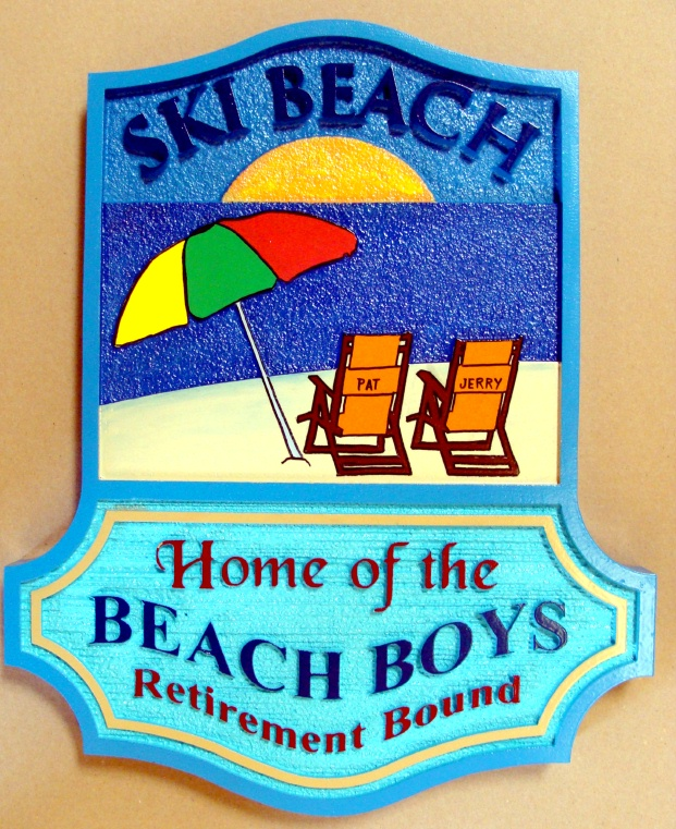 "L21024 - Carved Beach House Sign ""Home of the Beachboys"" with Umbrella, Chairs, Ocean, Sun and Residence Name"