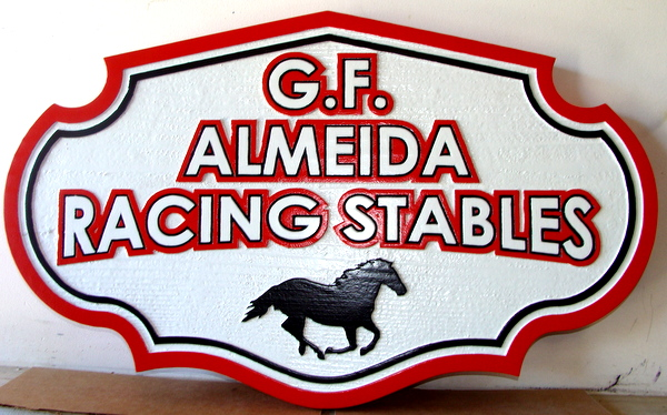 P25110 - Carved Cedar Entrance Sign for G.F. Almeida Racing Stables