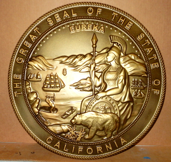 W32051 - Carved 3-D HDU, Metallic Gold Painted, Seal of the State of California