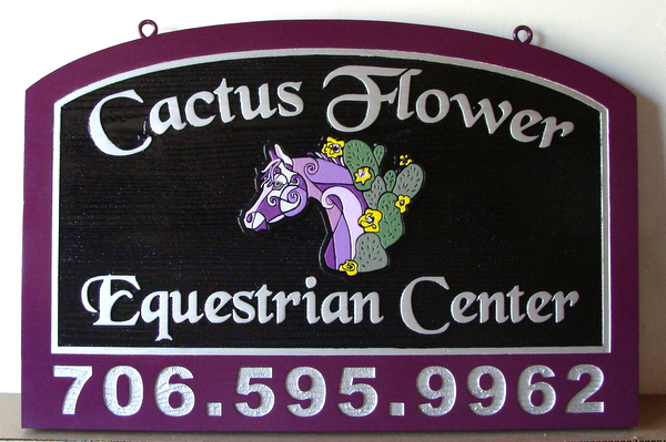 "P25070 - Carved HDU Equestrian Center Sign, ""Cactus Flower"", with Stylized Horse's Head and Cactus"