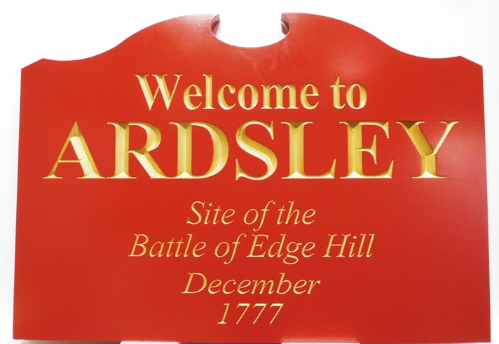 GA16434 - Carved Engraved HDU Sign  Ardsley, the Site of the Battle of Edge Hill