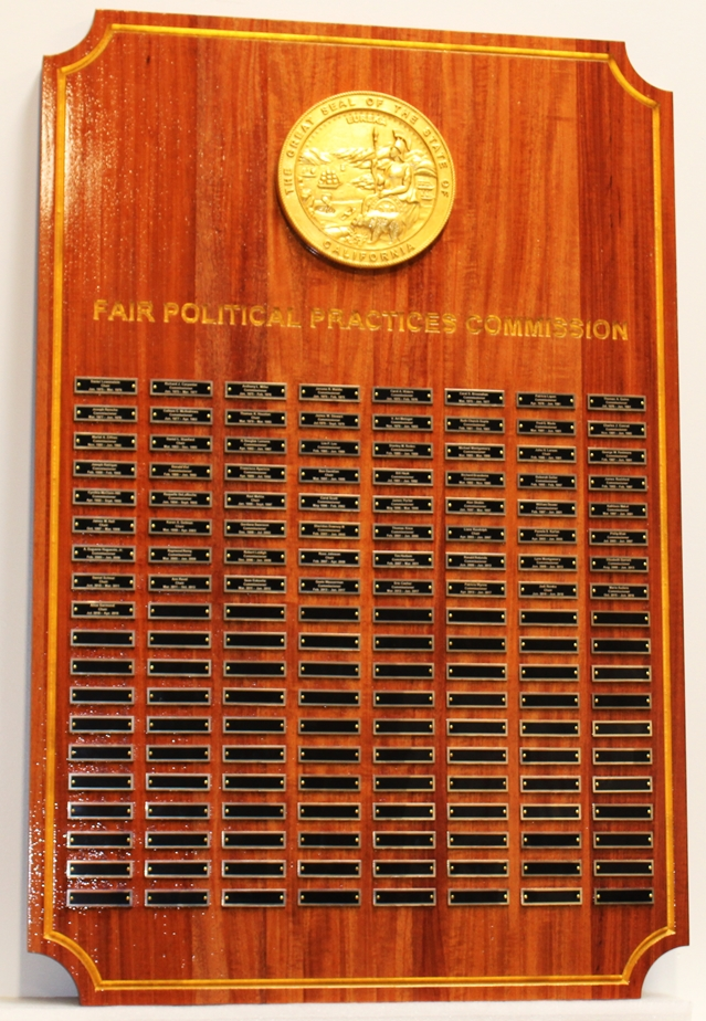 BP-1074 - Carved Plaque for Fair Political Practices Commission of California, Engraved Mahogany with Gold-Leaf Gilded 3-D Carved Seal