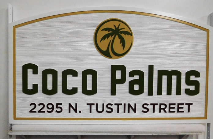 "K20327 - Carved HDU Entrance Sign  for the ""Coco Palms"" Apartments,  with Wood Grain Sandblasted Background"