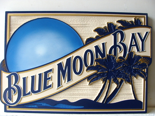 L21029 - Sandblasted HDU Blue Moon Bay Beach House Sign, with Palm Trees and Moon