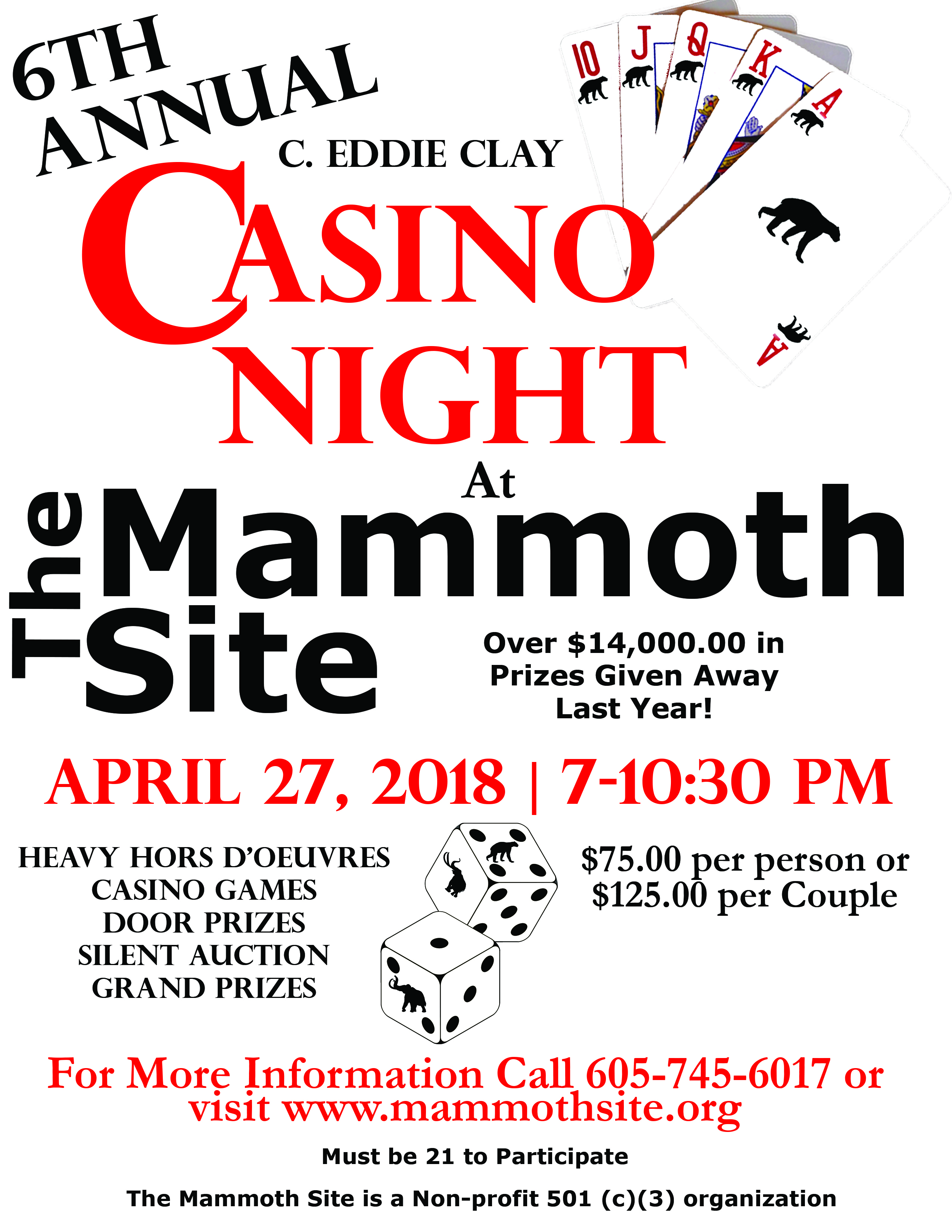 6th Annual Eddie Clay Legacy Casino Night at The Mammoth Site