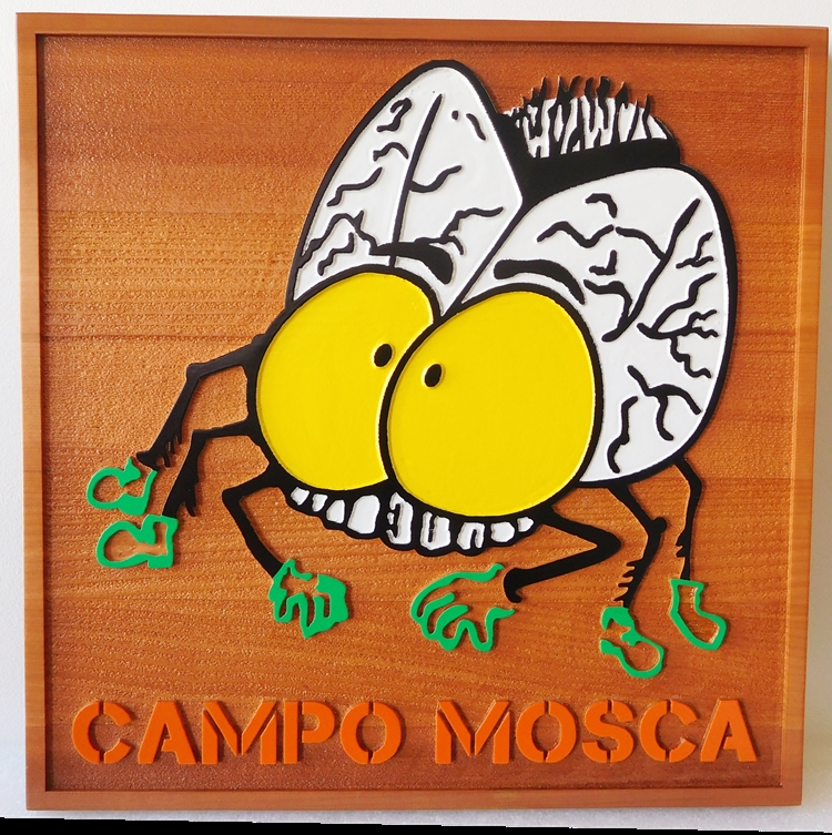 "M22035 - Carved and Sandblasted ""Campo Mosqo"" Sign with Cartoon of a Mosquito"