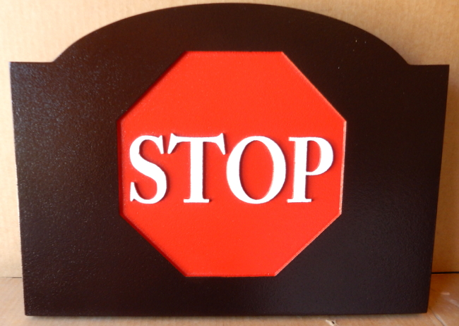 H17169 - Carved HDU STOP Sign Inset into Large Brown Frame