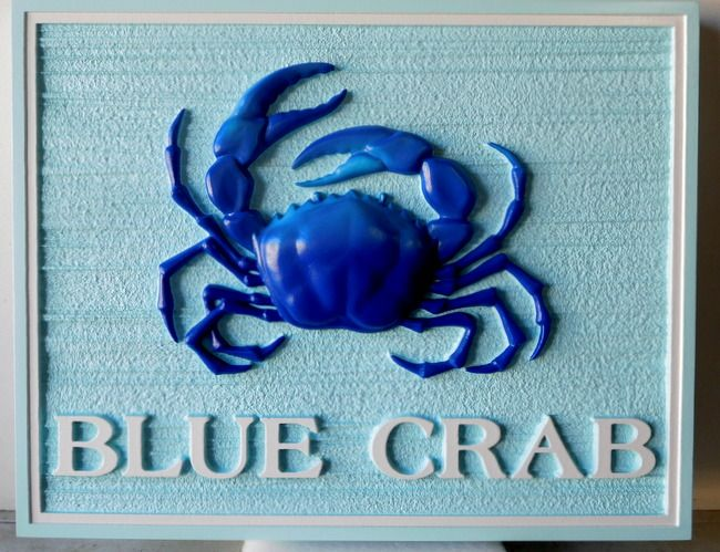 l21572 - Carved 3-D HDU Coastal Residence Sign, with Blue Crab