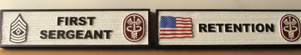 MP-3160 - Carved  Position and Rank Plaques for US Army Medical Unit,  Artist Painted