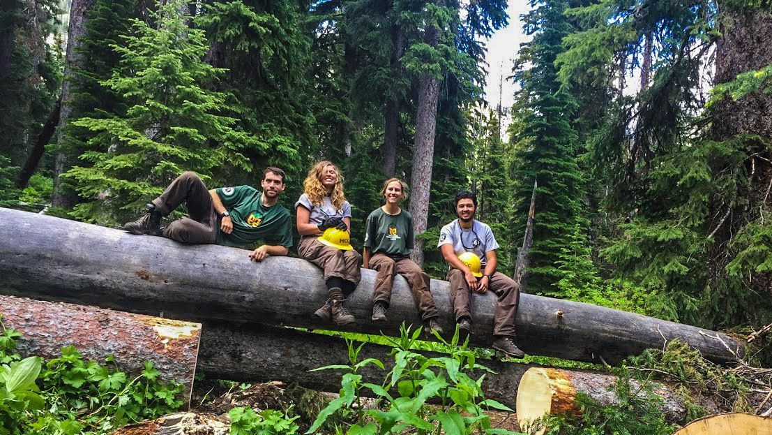 two young adult women and two men who are diverse are in MCC gear sitting on a log over a creek. Adventure with a purpose
