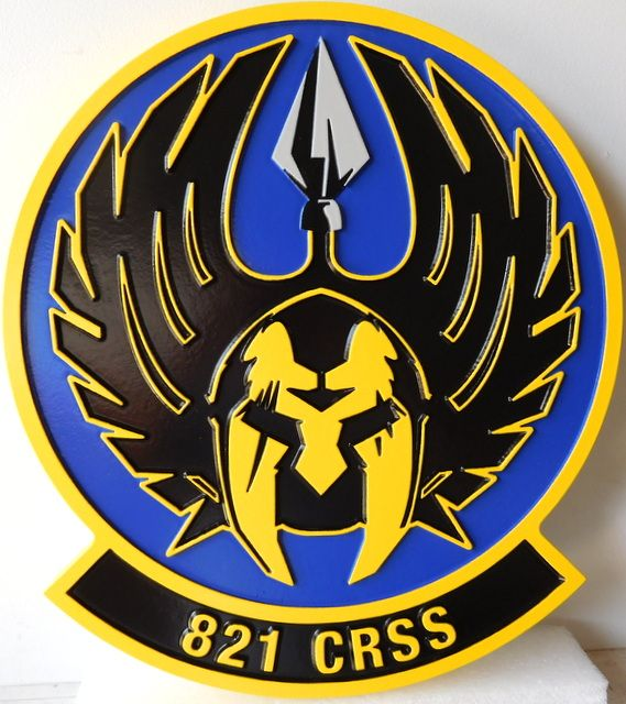 V31562 -  Carved 2.5-D HDU Plaque of the Crest for the US Air Force 821 Contingency Response Squad ( CRS).
