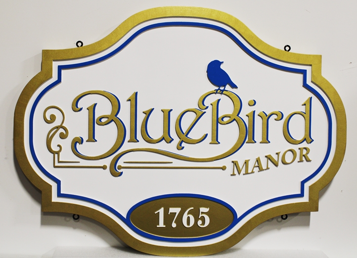 M1625  - Bluebird Manor Property Name and Address Sign (Gallery 18(