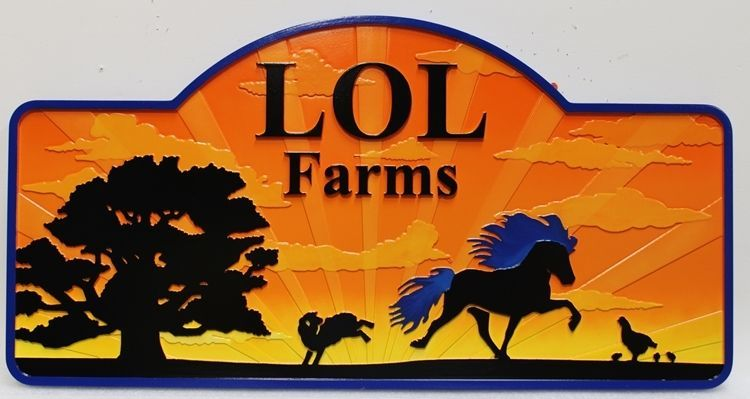 P25076 -  Carved Multi-Level Raised Relief HDU Entrance Sign forLOL Farms, with Silhouettes of a Trotting Horse and Oak Tree Viewed Against a Sunset