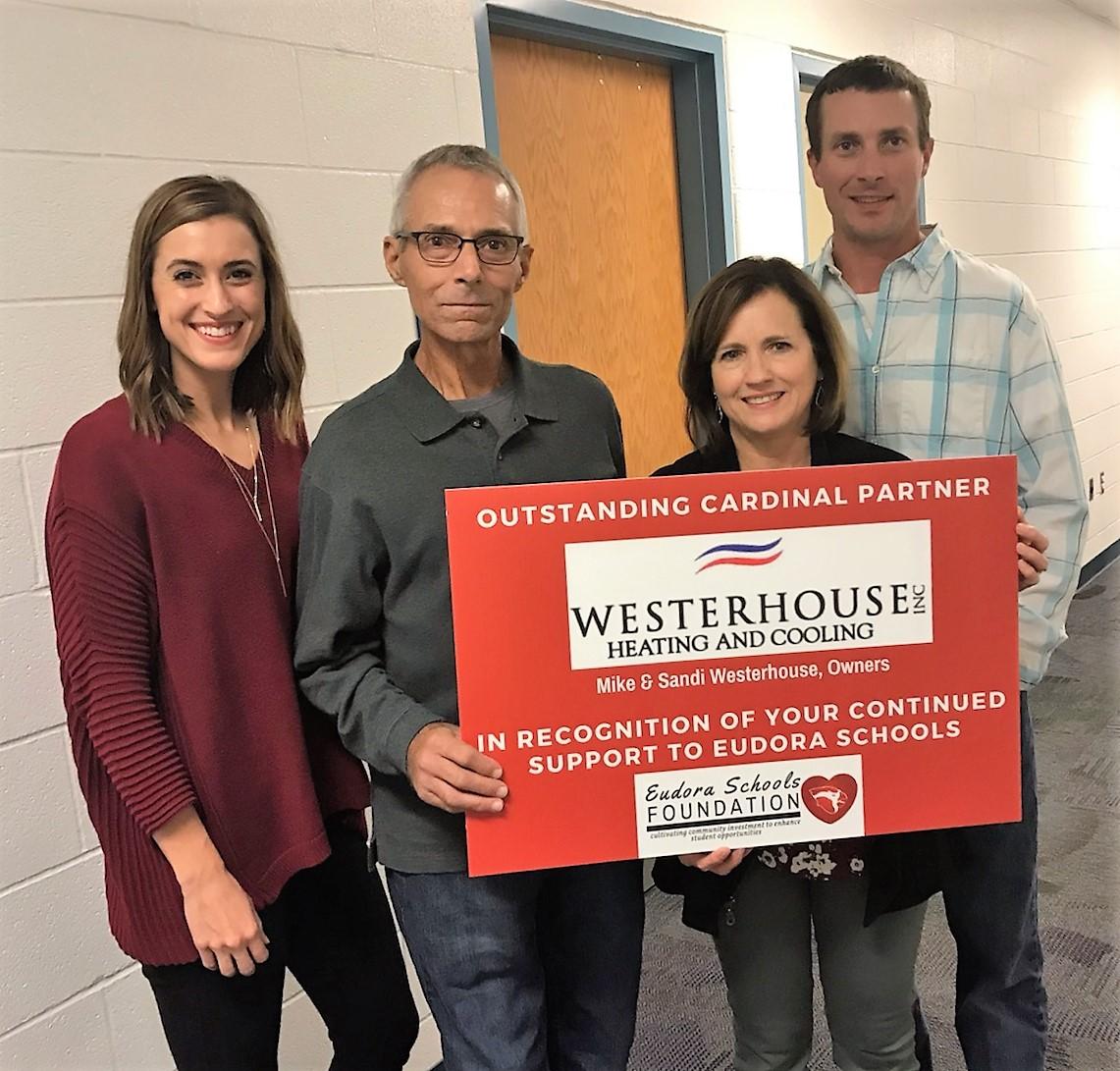 Congratulations to Westerhouse Heating & Cooling. -  2019 Eudora Schools Foundation Outstanding Cardinal Partner.