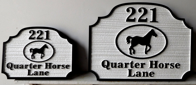 P25201 - Small and Large HDU Signs for Quarter Horse Lane with Central Image of Quarter Horse