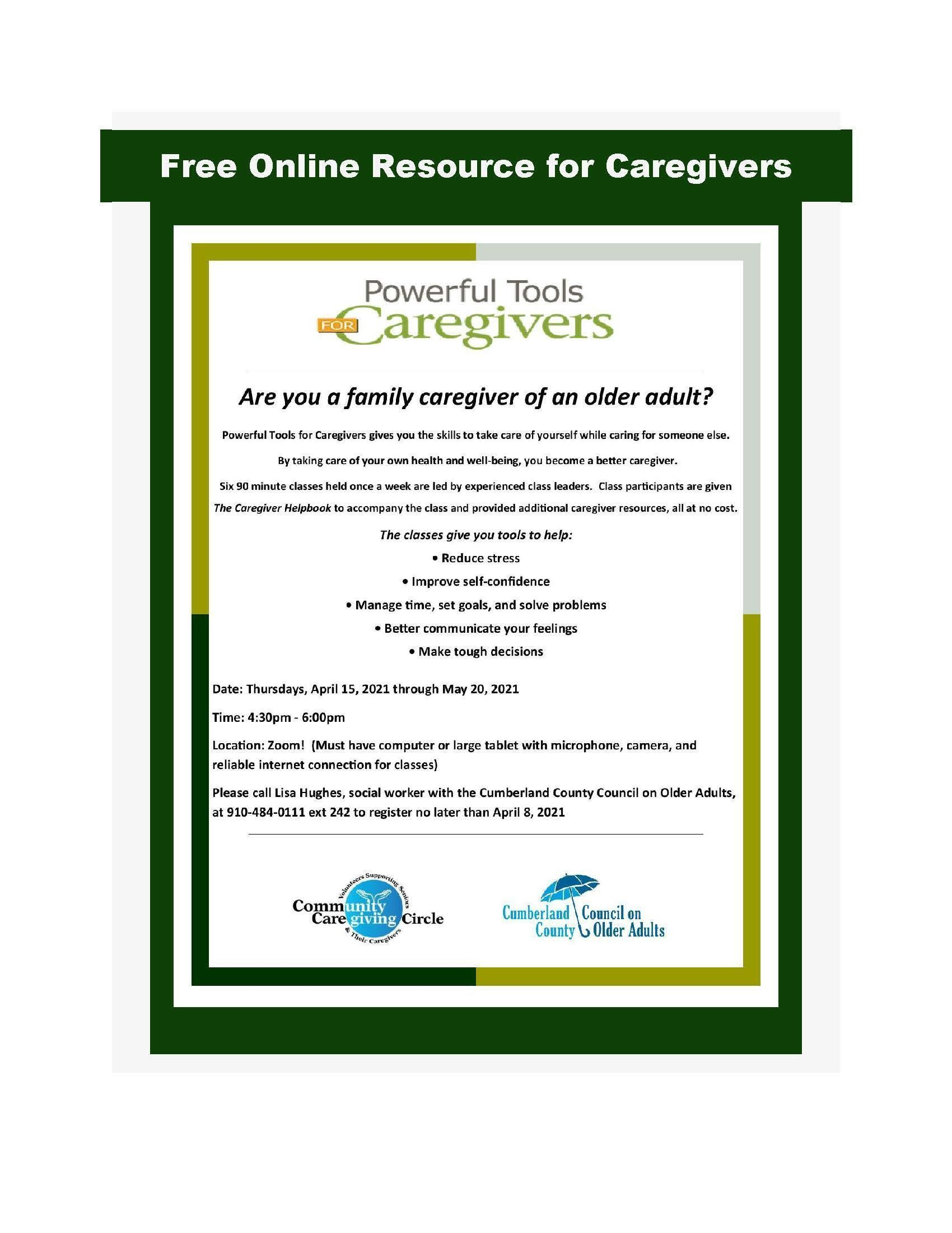 Free Online Powerful Tools for Caregivers Classes