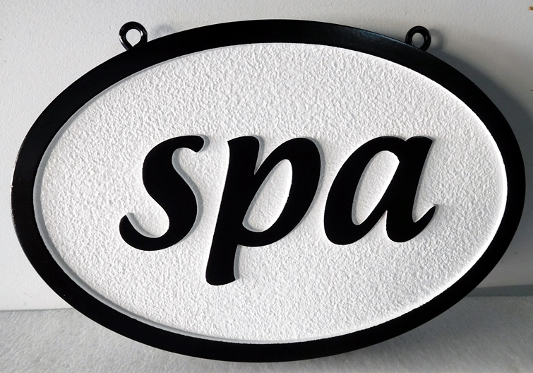 GB16560 - Carved and Sandblasted Sandstone Texture HDU Sign for a Spa