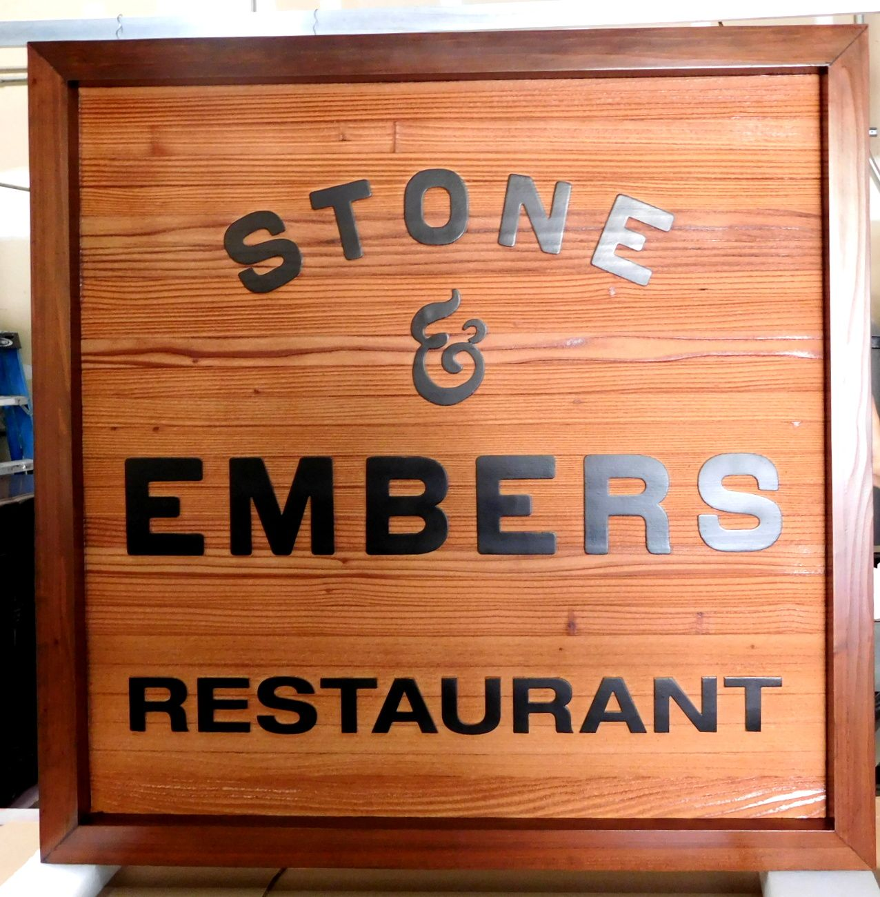 M3648 - Framed, Carved Cedar Wood Sign with Restaurant Name (Gallery 25)