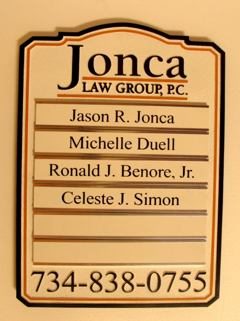 A10545 - Jonca Law Group Directory Sign, with Changeable Nameplates