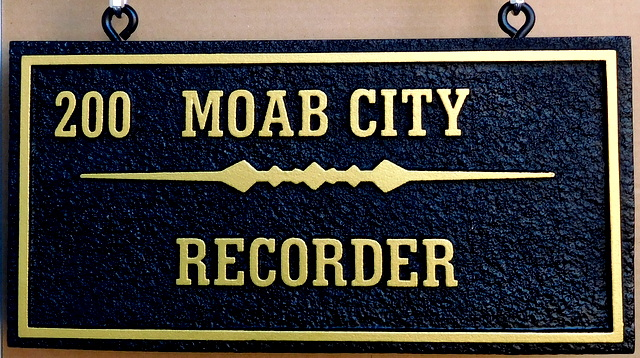 F15023 - Sandblasted, Sandstone Look, Carved  HDU Sign for Recorder for Moab Citys