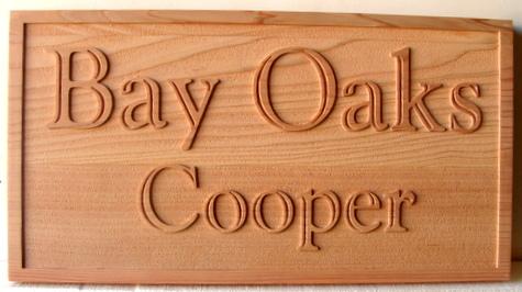 """I18918 - Carved Oak Property Name Sign, """"Bay Oaks"""""""