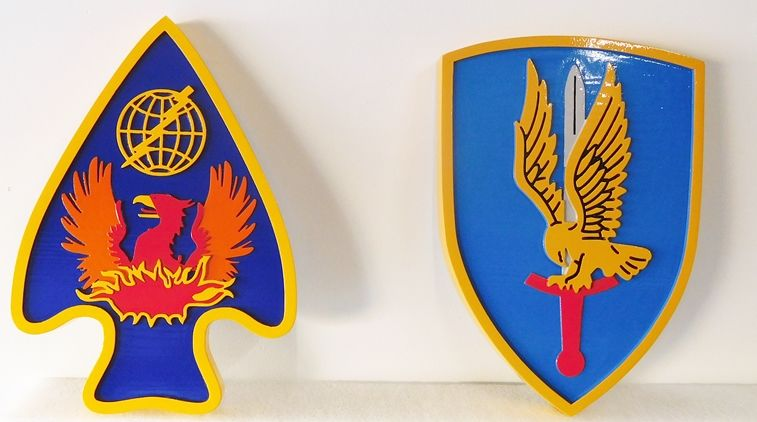 V31809  - Two  Wall Plaques of  Cresst for  US Army Units,  Carved in 2.5-D Raised and Engraved Relief