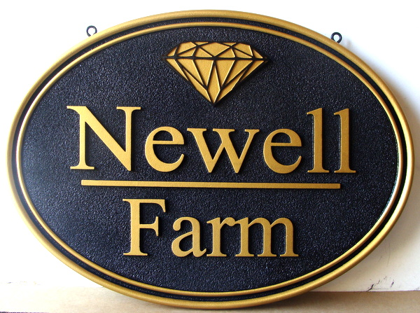 O24036 -    Carved and Sandblasted Sign for Newell Farm , with Diamond Logo