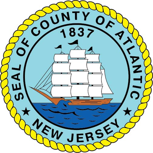 CP-1060 - Carved Plaque of the Seal of  Atlantic County, New Jersey,  Artist Painted